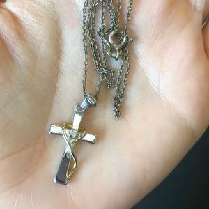 Jewelry - Sterling Silver & Gold Plated Cross Necklace